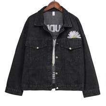 Denim Jacket Women 2020 New Embroidery Slingle Breasted Loose Spring Coat Female Black Casual Overcoat Mujer