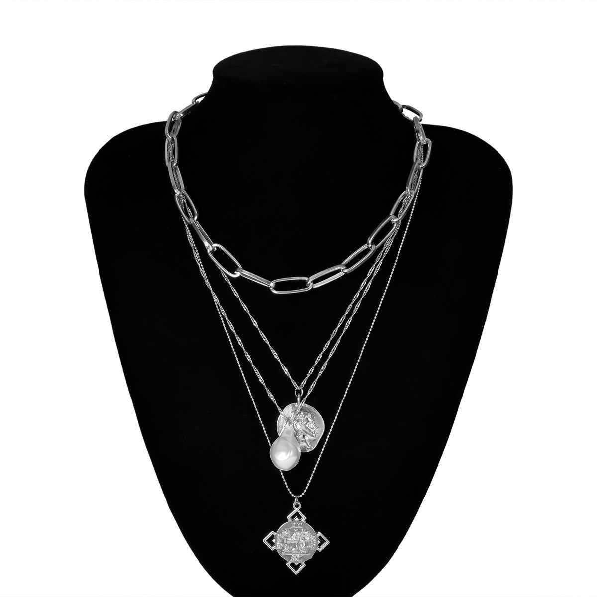 Boho חרוזים אופנה רב שכבה זהב צבע ארוך קונכייה תליוני שרשרת נשים הצהרת פרל אוקיינוס צדף חוף תכשיטים