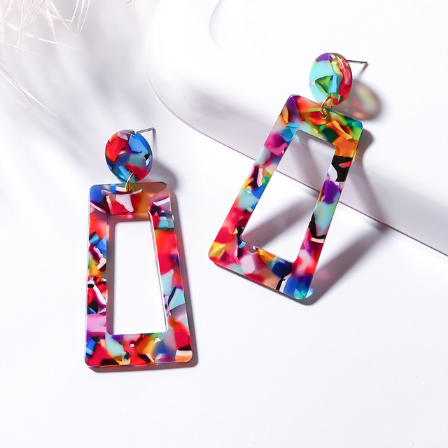 X&P New Geometric Acrylic Drop Earrings for Women Fashion 2019 Long Leopard Resin Earrings Jewelry Camouflage Design Earring