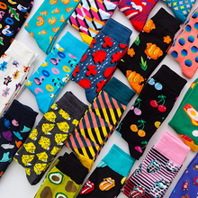 Fashion Unisex Hip Hop Mens Happy Socks Autumn with Fruits and Cartoon Picture Cool Socks Combed Cotton for Lovers Meias 404