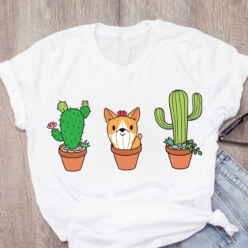 Women Graphic Cactus Dog Animal Floral 90s Cute Lady Print Summer Lady Tops T-Shirt Shirt Womens Clothing Tees Female T Shirt