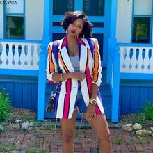 2019 new Autumn Winter women colorful stripes print open stitch notched v-neck blazers fashion vintage office lady coats GL6235
