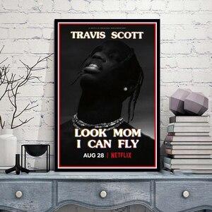 Plakat drukuje Travis Scott Look mama mogę latać film 2019 serial telewizyjny malarstwo artystyczne zdjęcia na ścianę do salonu Home Decor