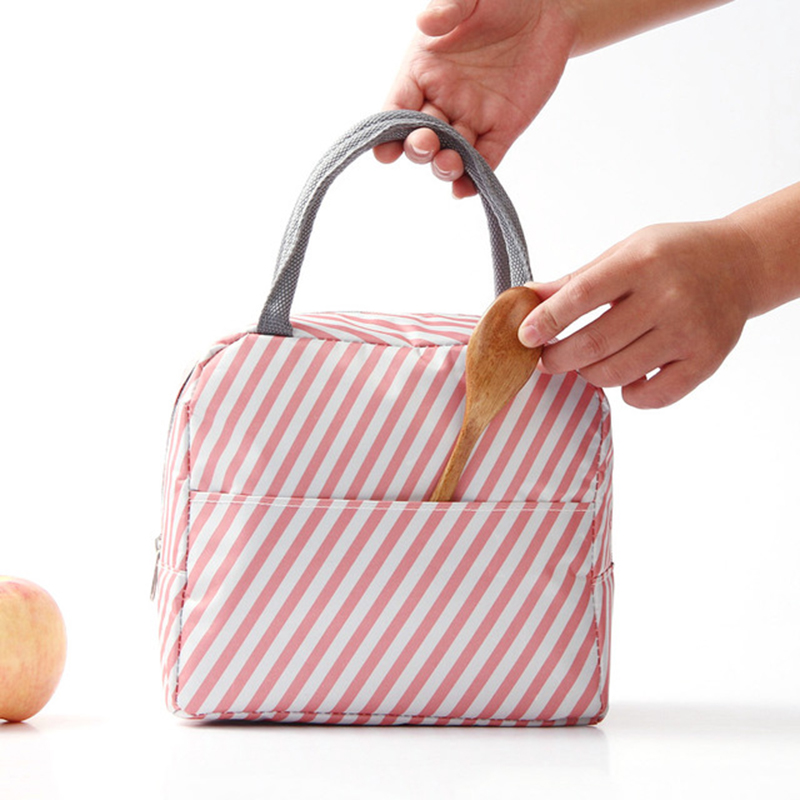 Thickened High Capacity Bento Bag Waterproof Women's Bag With Rice Insulation Tote Bag Large Stripes Thermal Insulated Lunch Bag