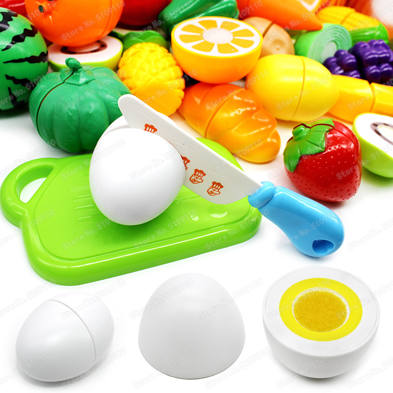 Pretend Play Plastic Food Toy Mini White Egg Cutting Fruit Vegetable Food Kitchen For Children Girls Toys Kids Educational Toys