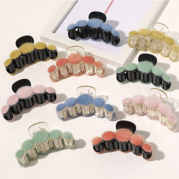 Candy Color Plush Hair Claw Faux Mink Fur Hairball Hair Clip Geometric Hairpin Plastic Barrettes Hair Crab Women Hair Accessory image