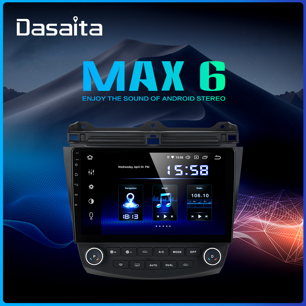"Voiture Dasaita 1 Din TDA7850 10.2 ""Radio Android 9.0 pour Honda Accord GPS 2003 2004 2005 2006 2007 Navigation 1080P vidéo 64G ROM"