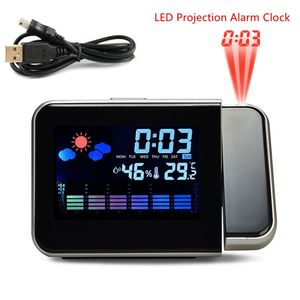 2020 New Projection Alarm Clock With Weather Station Thermometer Date Display USB Charger Snooze LED Projection Digital Clock(China)