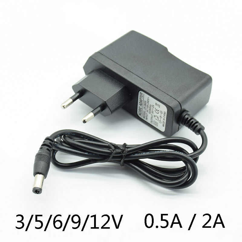 AC Converter Adapter DC 3V2A 5V2A 6V 2A 9V 12V 0.5A 500mA 15V 1A Power Supply Charger EU Plug 5.5mm * 2.5mm(2.1mm)  With lamp
