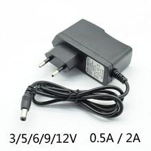 Ac 변환기 어댑터 dc 3v2a 5v2a 6 v 2a 9 v 12 v 0.5a 500ma 15 v 1a 전원 공급 장치 충전기 eu 플러그 5.5mm * 2.5mm (2.1mm) 램프 포함