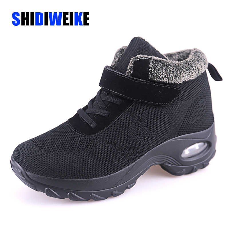 Kış kürk çizmeler bayan ayakkabıları sıcak kauçuk ayak bileği ayakkabı kadın kama ayakkabı rahat Botas Mujer kadın Sneakers sıcak büyük boy 42