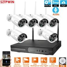 8CH 3.0MP HD ses kablosuz NVR kiti P2P 1080P kapalı açık IR gece görüşlü güvenlik 6CH 3.0MP ses IP kamera WIFI CCTV sistemi
