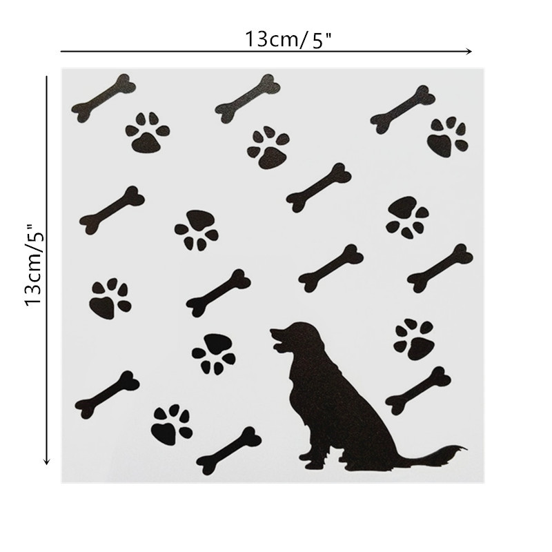13*13cm DIY Painting Craft Dog Pattern Stencil Template For Wall Painting Scrapbooking Stamp Decor Embossing Cards