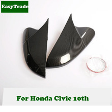 2PCS Horn Shape Car Rear View Side Mirror Cover Trim For Honda Civic 10th Interior Accessories Carbon Fiber Style Car Styling стоимость
