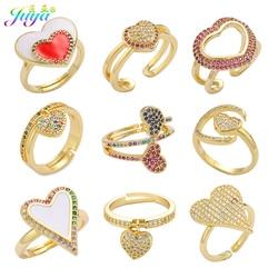 Juya 18K pozłacane luksusowe otwarte koło regulowany rozmiar emalia Love Heart obrączki dla kobiet moda materiały jubilerskie
