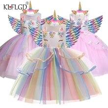 Новинка, платье с единорогом Эльзы для девочек, бальное платье с вышивкой, платья принцессы на день рождения для девочек, праздничные костюм...