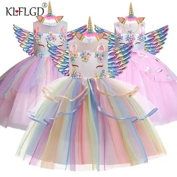 Nowa sukienka Elsa jednorożec dla dziewczynek haft suknia dla dziewczynki księżniczka suknie urodzinowe na stroje imprezowe dla dzieci tanie i dobre opinie KLFLGD Mikrofibra CN (pochodzenie) Do kolan Crew neck Dziewczyny REGULAR bez rękawów Śliczne Dobrze pasuje do rozmiaru wybierz swój normalny rozmiar