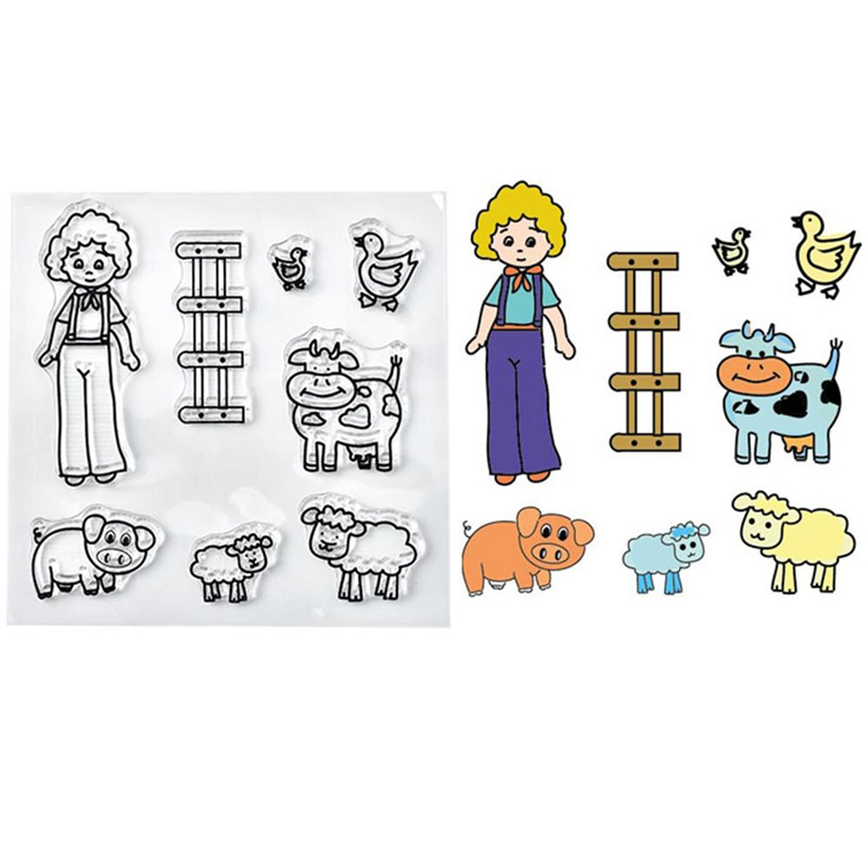 Girl and Animal Clear Stamps 2019 Rubber Transparent Silicone Seal for DIY Scrapbooking Photo Album Stamp Crafts Decoration