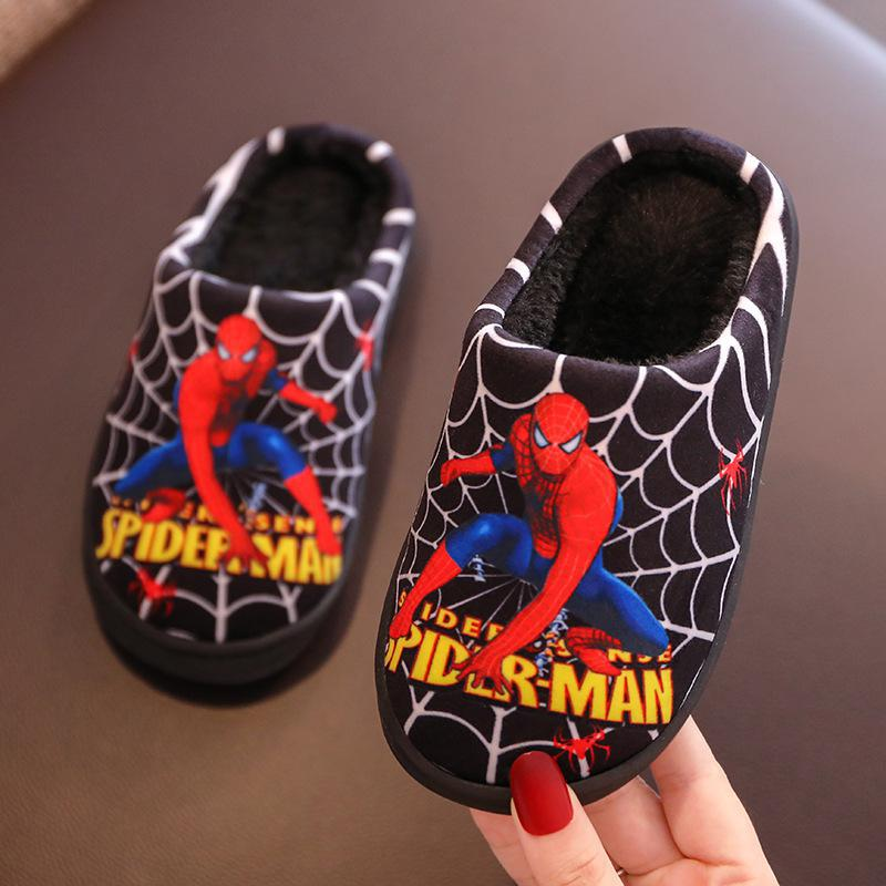 Kids Slippers For Boys Winter Cartoon Spiderman Pu Flip Flop Baby Girls Children Floor Shoes Plush Warm Home Parent-child Shoes