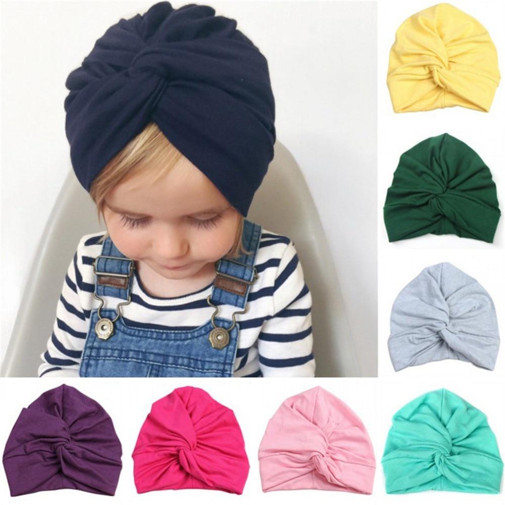 Nette Baby Hut stil für Sommer Turban mädchen Weiche baby Hut Knoten Baumwolle Böhmischen Kinder Mädchen Kappe Neugeborenen