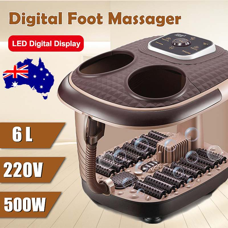 500W Fumigated Foot Spa Bath Electric Feet Massager Rolling Vibration Heat Electric Oxygen Bubbles Foot Massage For Relaxation