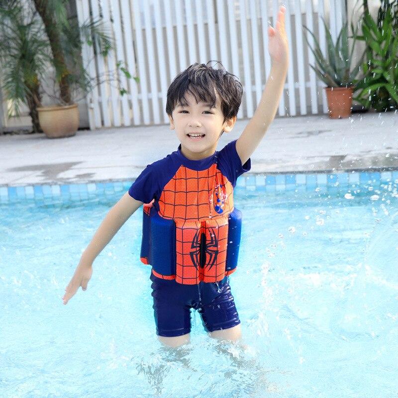 2019 New Style CHILDREN'S Buoyancy Swimsuit One-piece Floating Swimwear Cute Cartoon Spider-Man Swimming Training Suit
