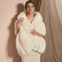 2019 女性ボレロブライダルショールフェイクファーラップボレロ結婚式岬ブライダルショール毛皮のケープ 2018 冬アイボリーブライダルマントボレロ