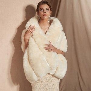 Image 1 - 2019 Women Bolero Bridal Shawl Faux Fur Wrap Bolero Wedding Cape Bridal Shawl Fur Cape 2018 Winter Ivory Bridal Cloak Bolero