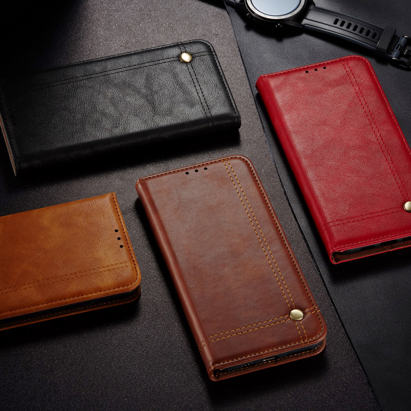 Luxury Retro Leather Flip <font><b>Case</b></font> For <font><b>OPPO</b></font> Realem A91 A9 A8 <font><b>A5</b></font> A31 A11 2020 X2 6 5S C3 X2 NEO Lite <font><b>Wallet</b></font> Card Stand Magnetic Cover image