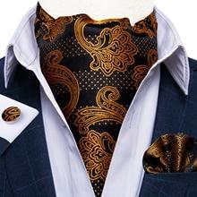 Men Scrunch Self British Style Ascot Neck Tie Vintage Gold Black Paisley Jacquard Woven Necktie Cravat Pocket Square Set DiBanGu