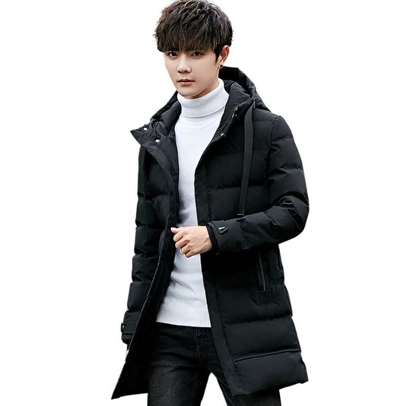 New Fashion Brand 2019 Winter Down Cotton Men's Windproof Waterproof Duck Down Coat Men's Long Thick Warm Coat