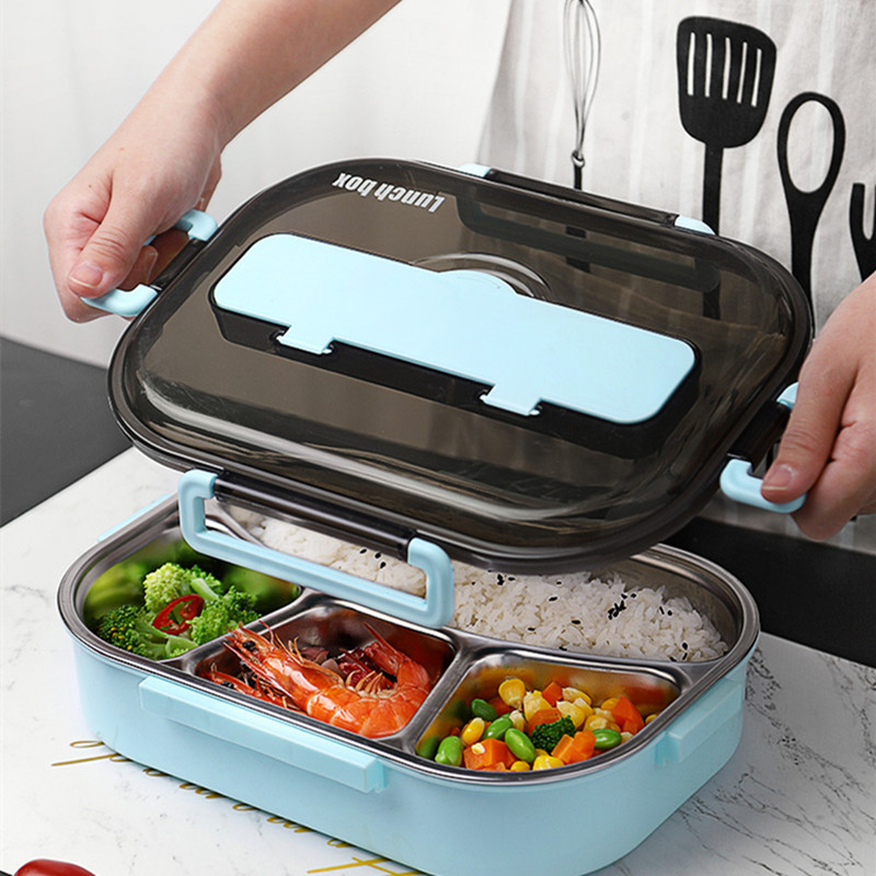 Bento Lunch Box Food Container for Child 304 Stainless Steel Box Kitchen Leak proof Food Container Send  Dinnerware Set-in Lunch Boxes from Home & Garden