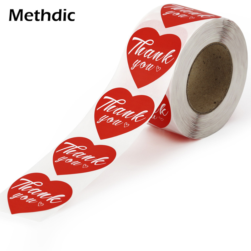 Methdic 1 Rolls Waterproof Thank You Stickers Roll For Gift Bags,Evenlope
