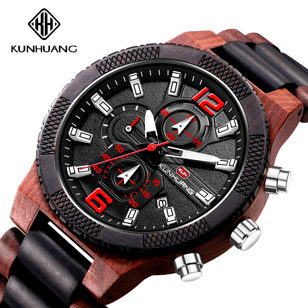 Wooden Watch Men Luxury Stylish Wood Timepieces Chronograph Military Quartz Watches For Men Top Quality Sport Watches For Men