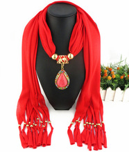 Womens jewelry pendant scarf foreign trade alloy resin polyester fringed gold droplet