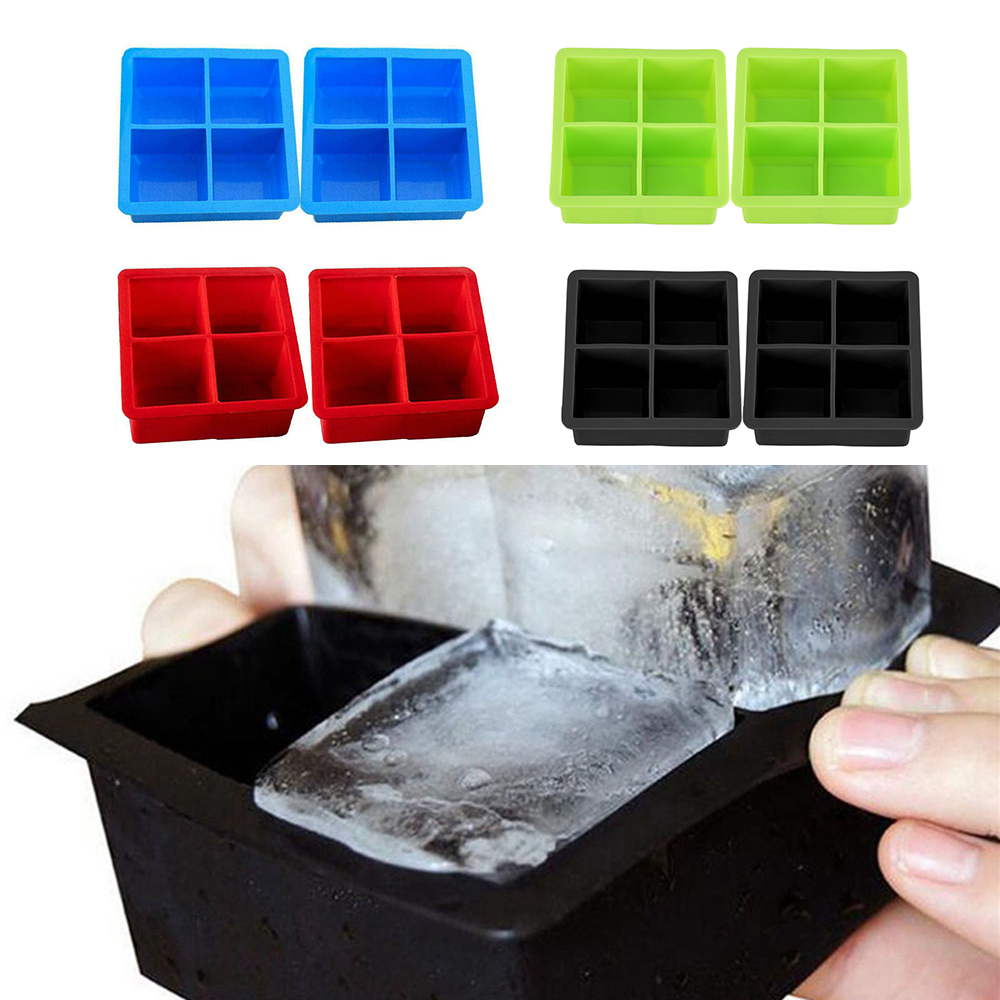 <font><b>2x</b></font> Silicone Large Ice <font><b>Cube</b></font> Mold Mould Tray Maker DIY Square 4 Grids Kitchen Bar image