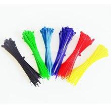 100 adet kablo bağları 10 renk 2.5mm x 100mm 2.5mm * 100mm kendinden kilitleme naylon tel kablo Zip bağları beyaz siyah organizatör sabitleyin kablo