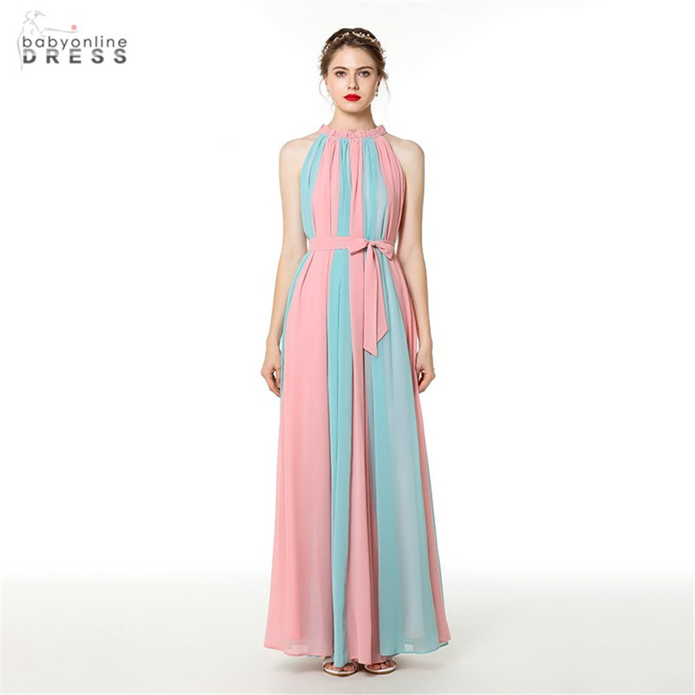 New Arrival Canday Color A-line Long Evening Dress Chiffon Bow Tie Contrast Color Evening Gown Abendkleider Robe De Soiree Longo