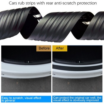 Car Trunk Door Sill Plate Protector Rear Bumper Guard Protector Rubber Pad Trim Anti-Scratch Cover Strip Accessories black image