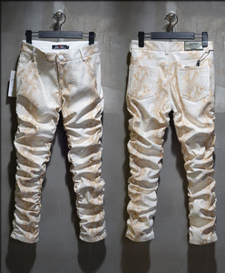 Image 5 - 2020 Fashion Men Slim Faux Python Snake Print Leather Pants Mens Personality PU Leather Trousers Chandal Male High Quality