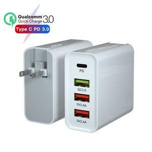 Image 1 - Ładowarka USB PD 65W ue usa przejściówka Adapter QC3.0 ładowarka do telefonu komórkowego na przenośna ściana mobilna szybka uniwersalna ładowarka podróżna zasilanie prądem zmiennym