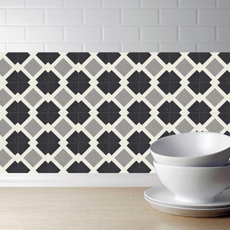 autocollant 3d retro noir et blanc pour carrelage 20x100cm en pvc pour salle de bains cuisine decoration murale mur de television canape
