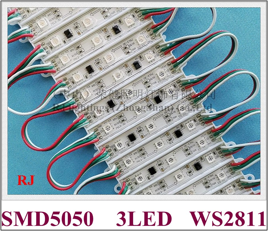 Светодиодный RGB-модуль WS2811, SMD 5050, светодиодный задний светильник, задний светильник для знака SMD5050, DC12V, 3, светодиодный, 0,72 Вт, WS 2811, IP66, водонеп...