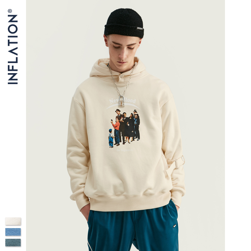 INFLATION 2020 Vintage Men Hoodie In Blue With White Print Drawstring Hood Men Pullover Hoodie For Autumn Loose Fit  9616W