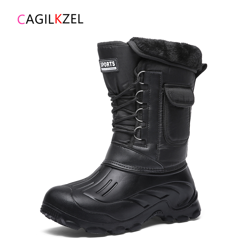 CAGILKZEL New Winter Camouflage Snow Boots Rain Men Shoes Waterproof With Fur Plush Warm Male Casual Mid Calf Work Fishing Boots