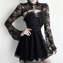 Gothic lace bandage dress female backless sexy suspenders dresses