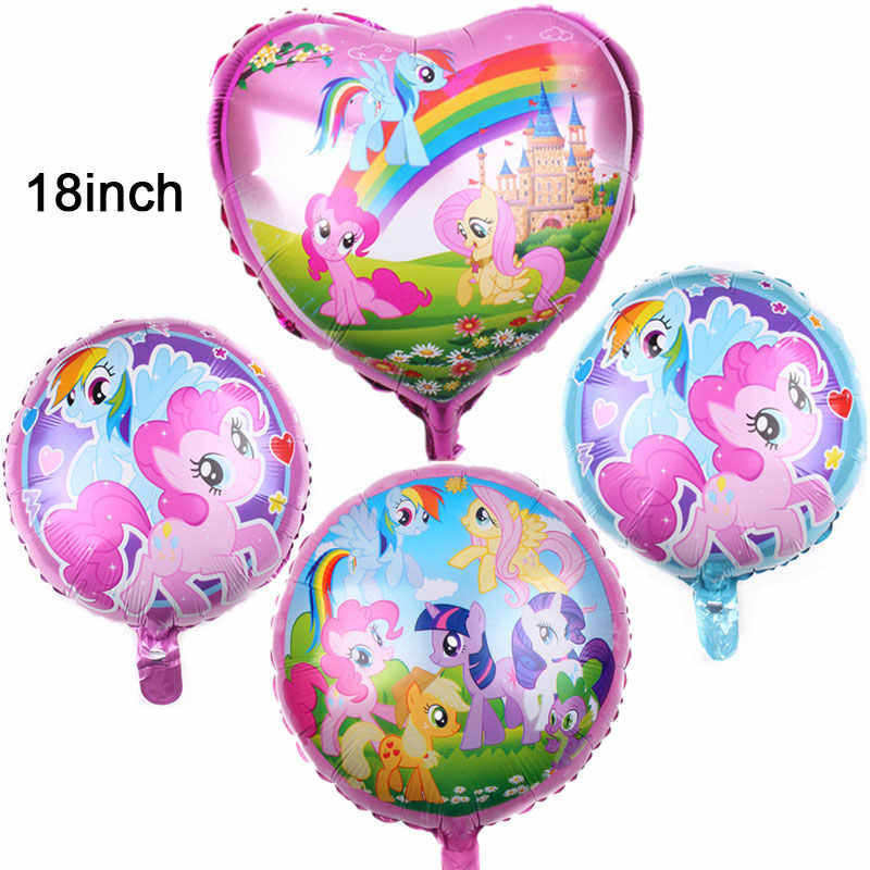 18inch pink heart-shaped  aluminum balloon Cartoon My Little Pony Theme Foil balloons kids Party Birthday Party Decor Supply 1pc
