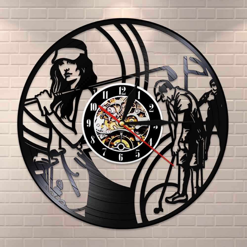 Golf Exclusive Vinyl Record Clock Golf Sports Club Wall Clock Made Of Vinyl Record 3D Wall Watches Handmade Gift
