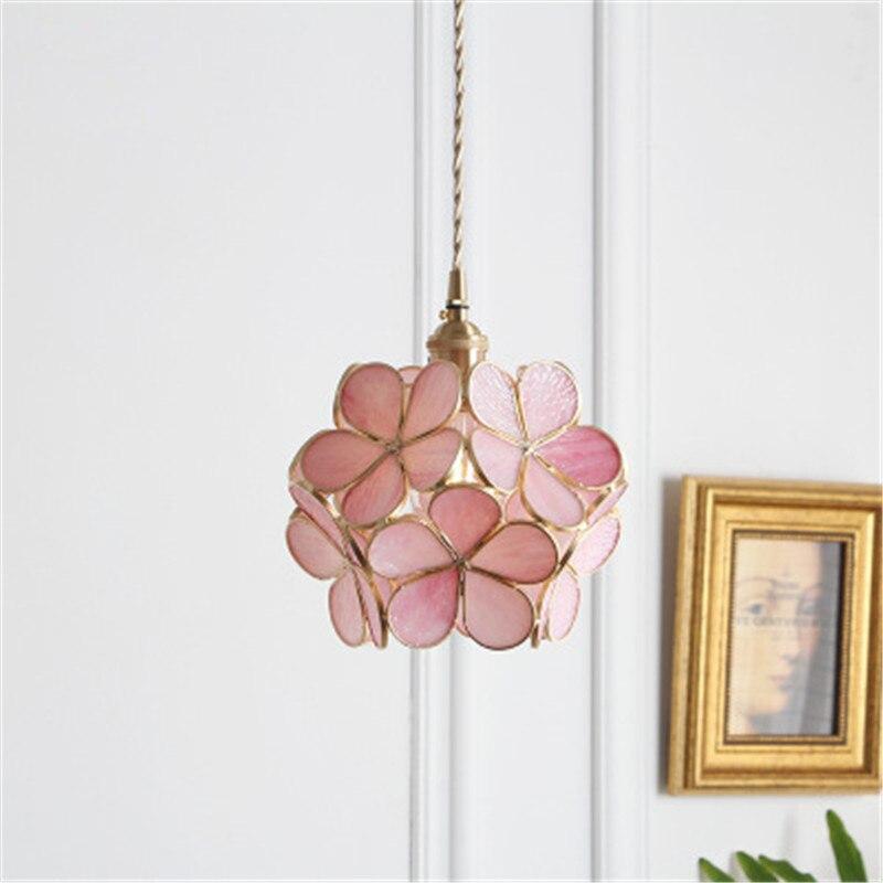 Style japonais fait à la main en verre lumière chaude chambre café magasin vestiaire allée rose fille coeur chambre d'enfants pétale lustre - 3