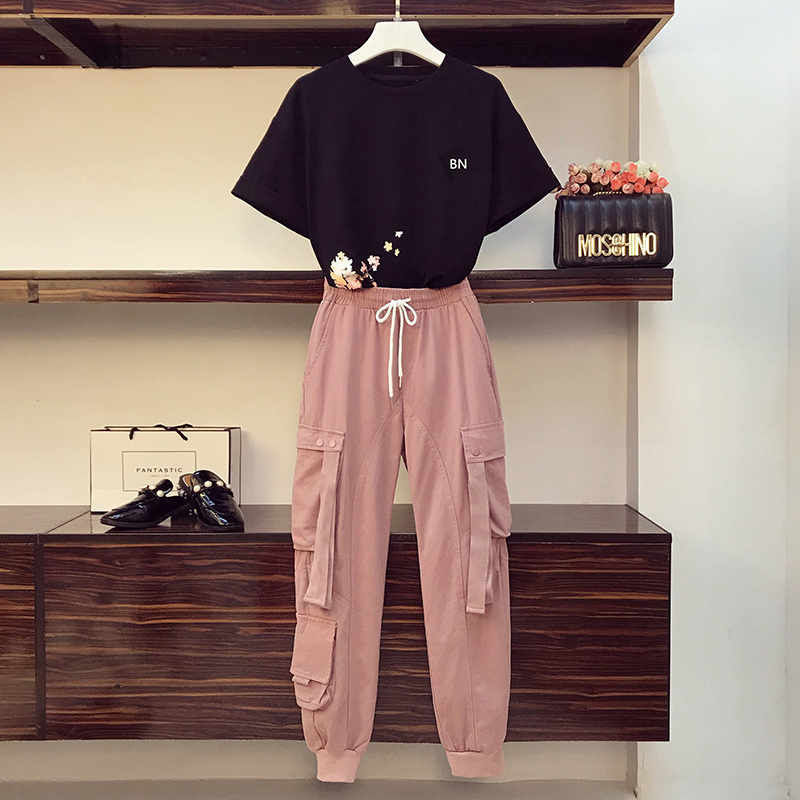 Oversized Fashion Top And Pants Tracksuit For Women Suit Plus Size New Style 2020 Sets Women Casual Fashion T-Shirt Shorts Suit